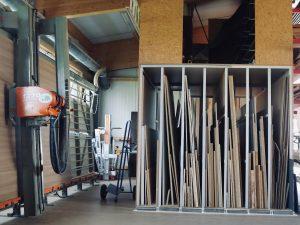 Holzfabrik48° Fertigung Plattenlager Plattensäge