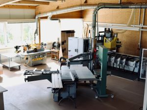 Holzfabrik48° Fertigung Maschinenpark Formatkreissäge Tischfräse Bearbeitungszentrum